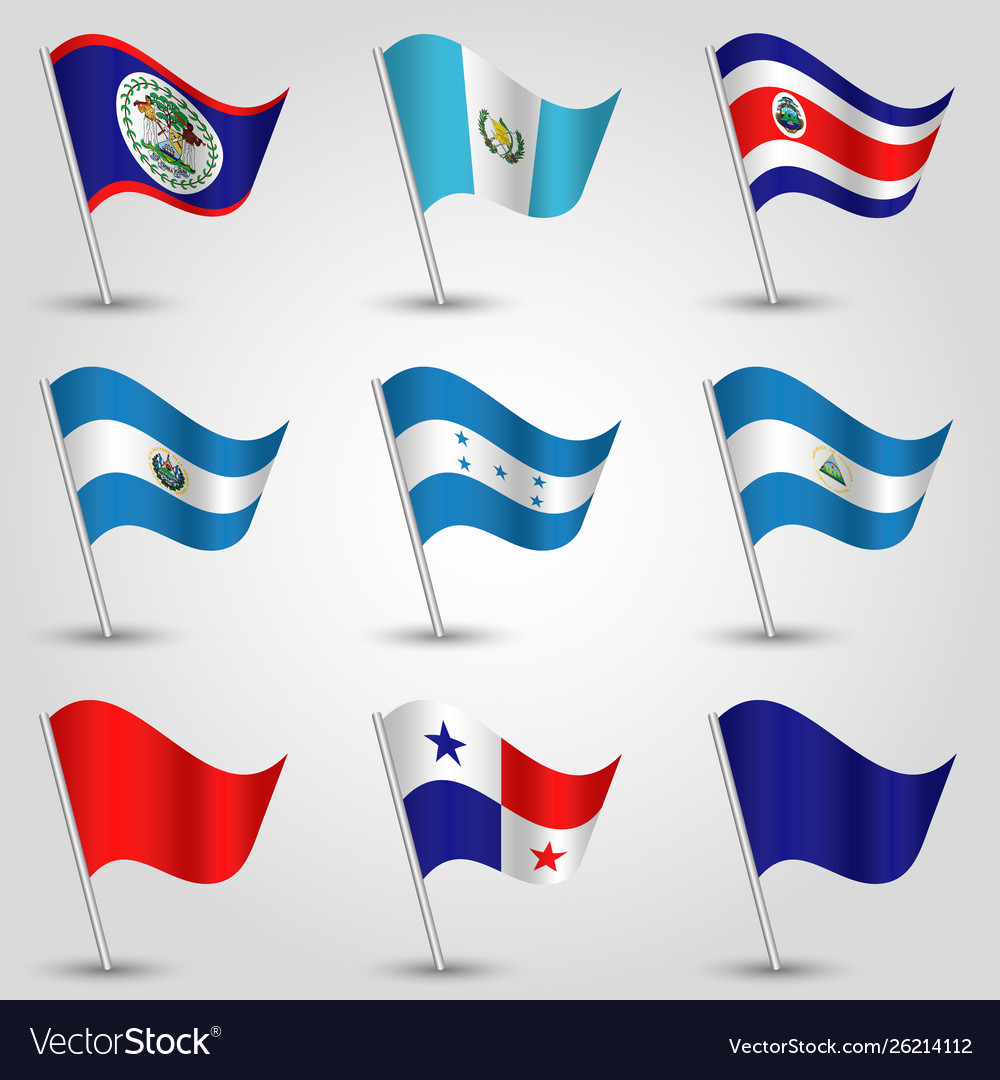Set Waving Flags Central America Royalty Free Vector Image