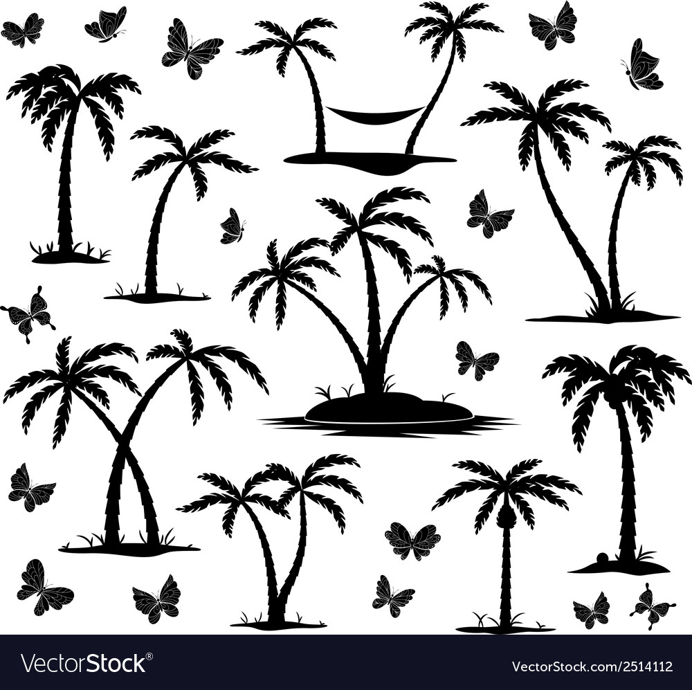 Silhouettes palm trees