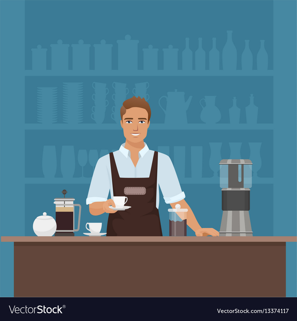 A smiling young man barista preparing coffee with