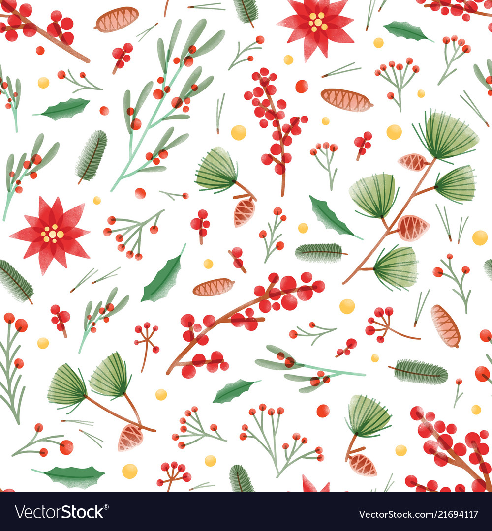 Christmas seamless pattern with holly leaves