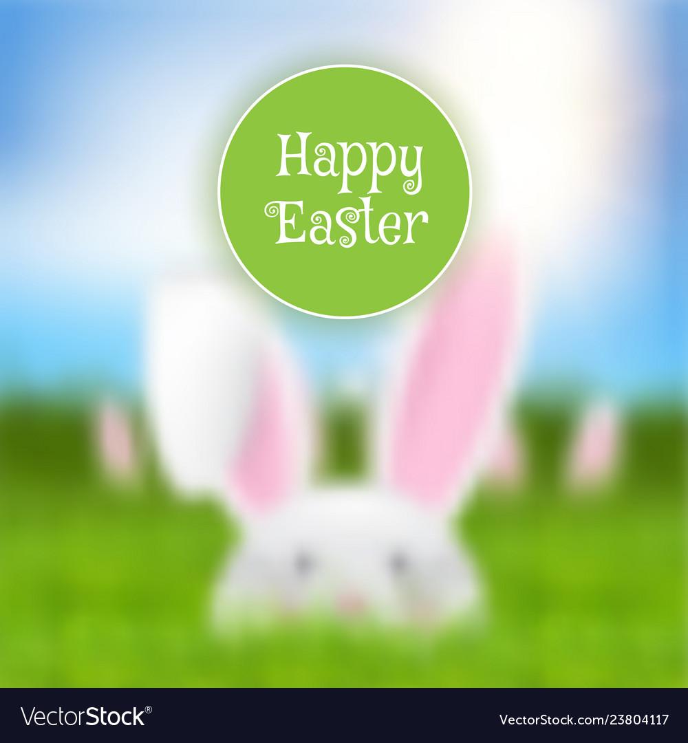 Easter background with defocussed rabbit landscape