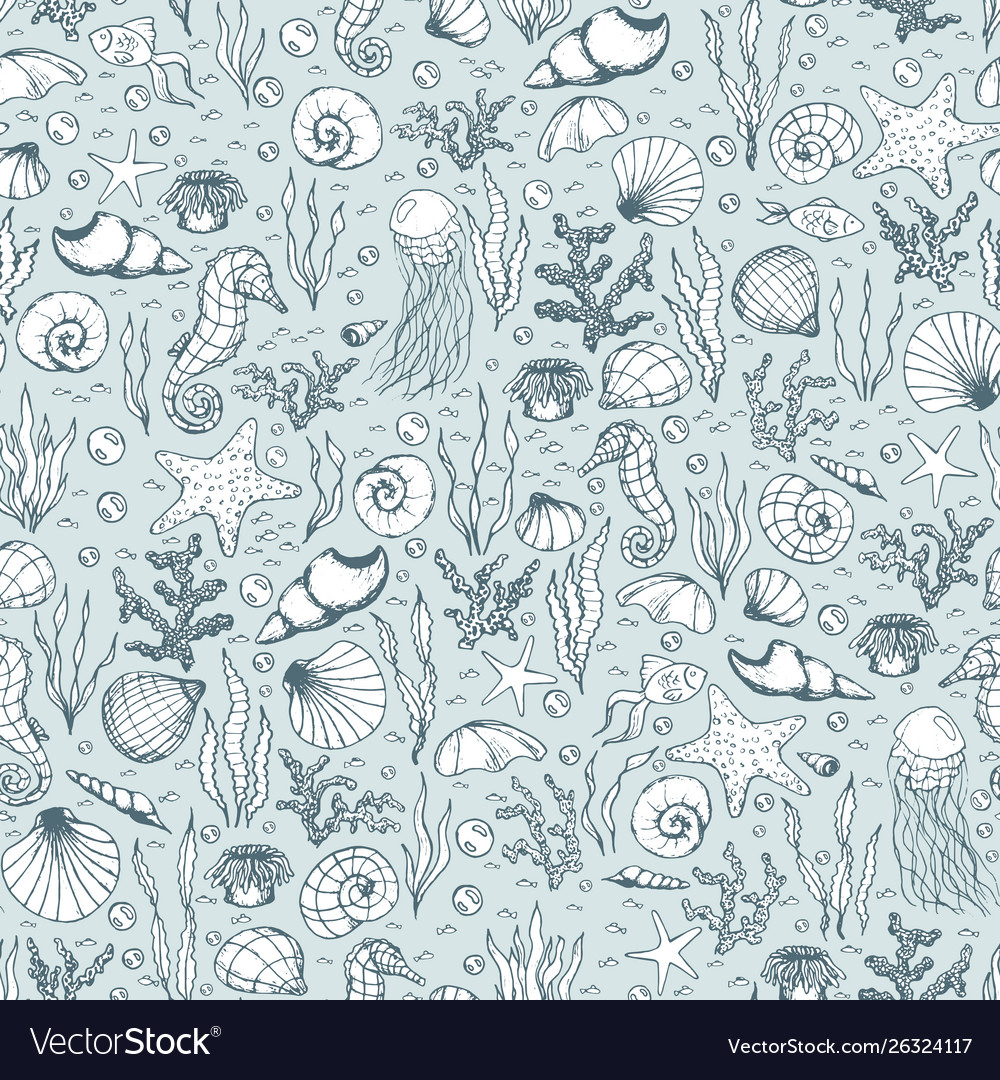 Hand drawn sea life pattern with fish seahorse