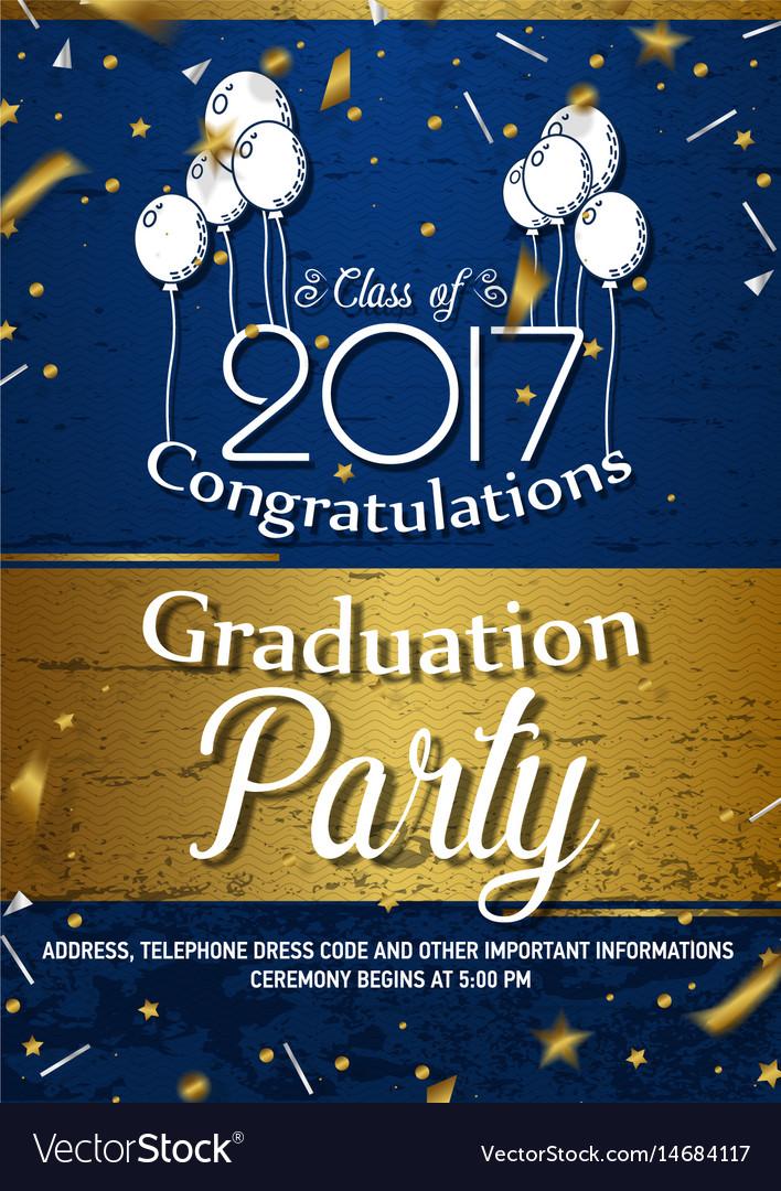 Invitation to graduation party vector image
