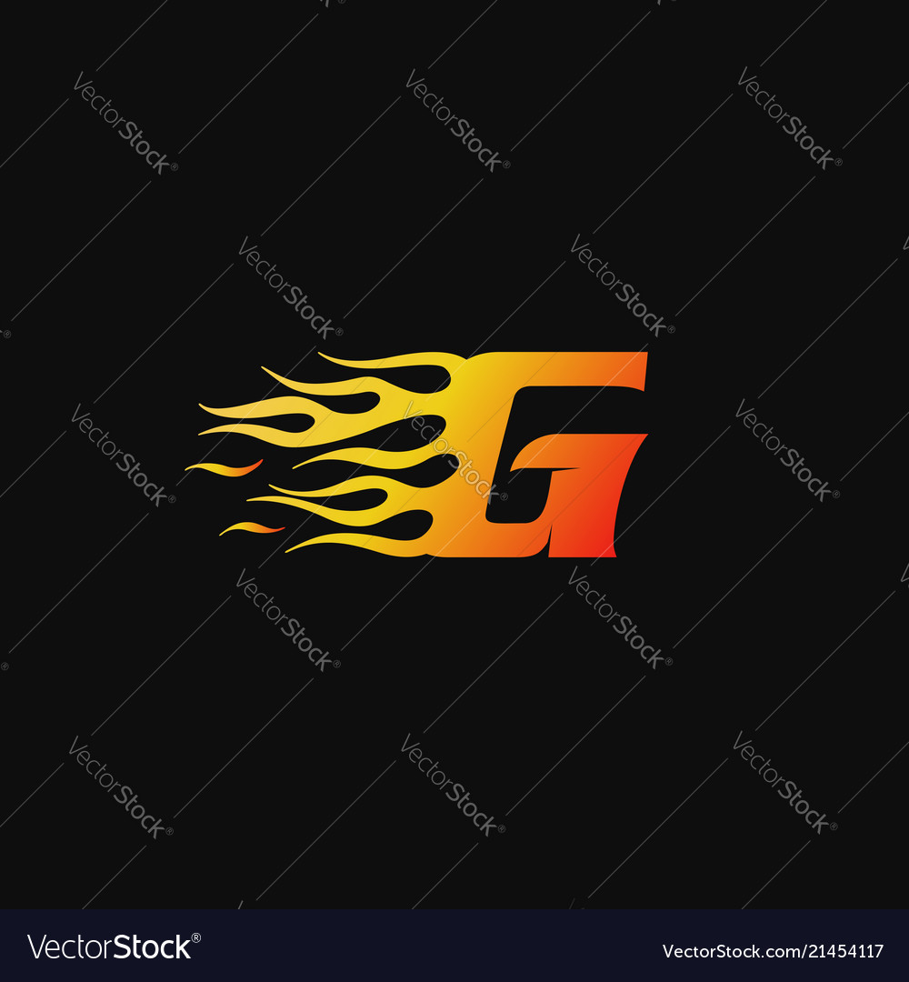 Letter g burning flame logo design template