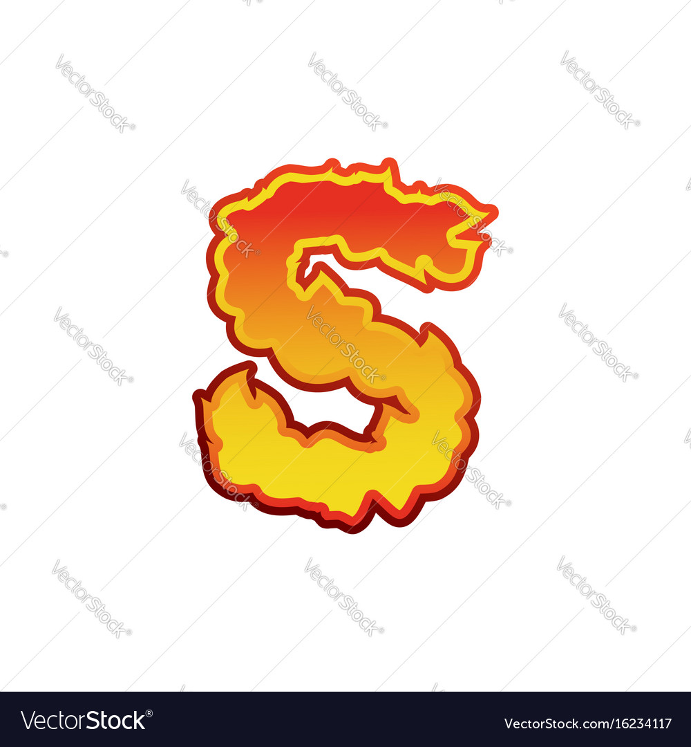Letter S Fire Flames Font Lettering Tattoo Vector Image