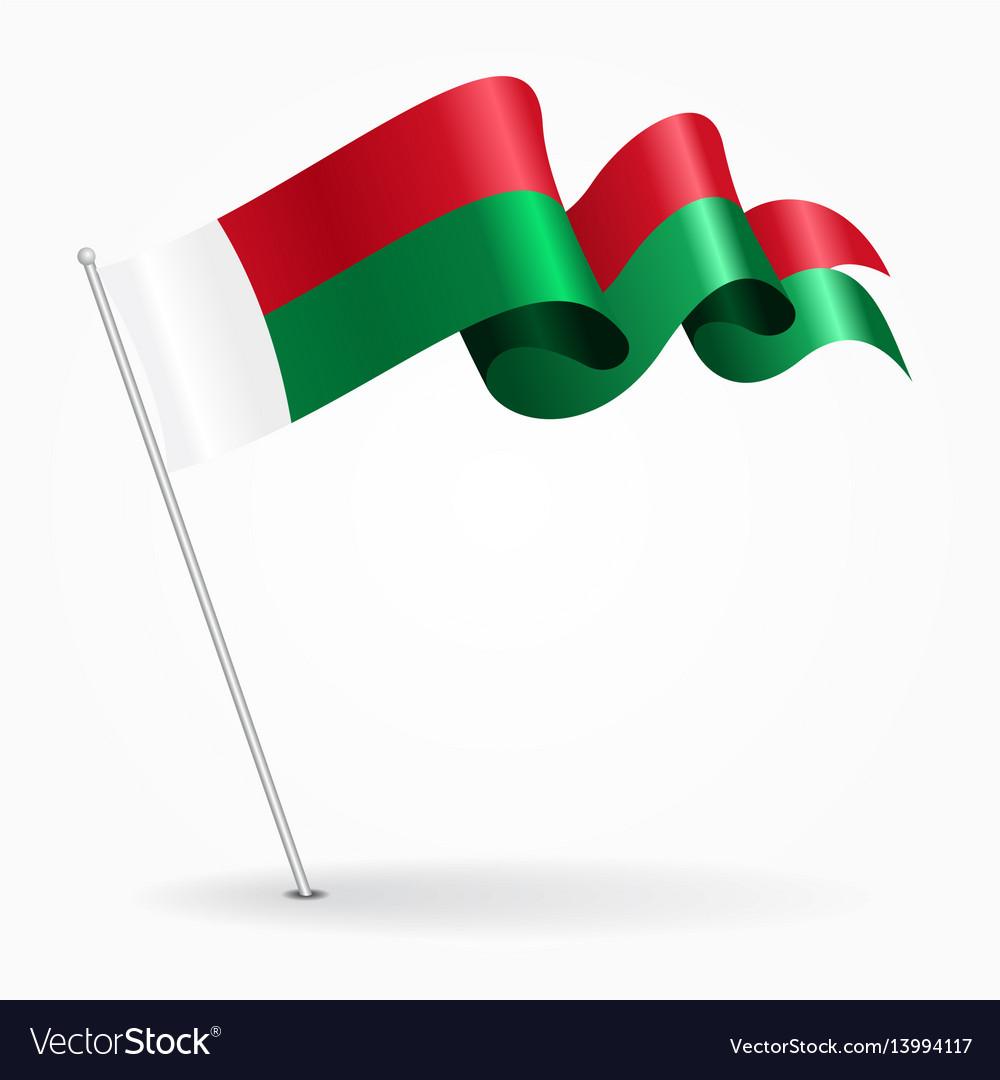 Madagascar pin wavy flag vector image