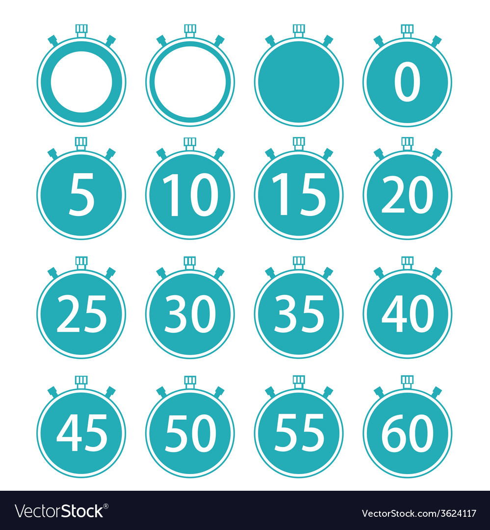 Modern flat stopwatch icons set on white