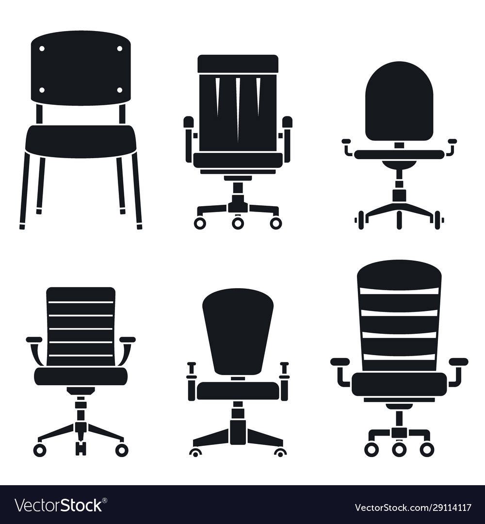 Office Desk Chair Icons Set Simple Style Vector Image