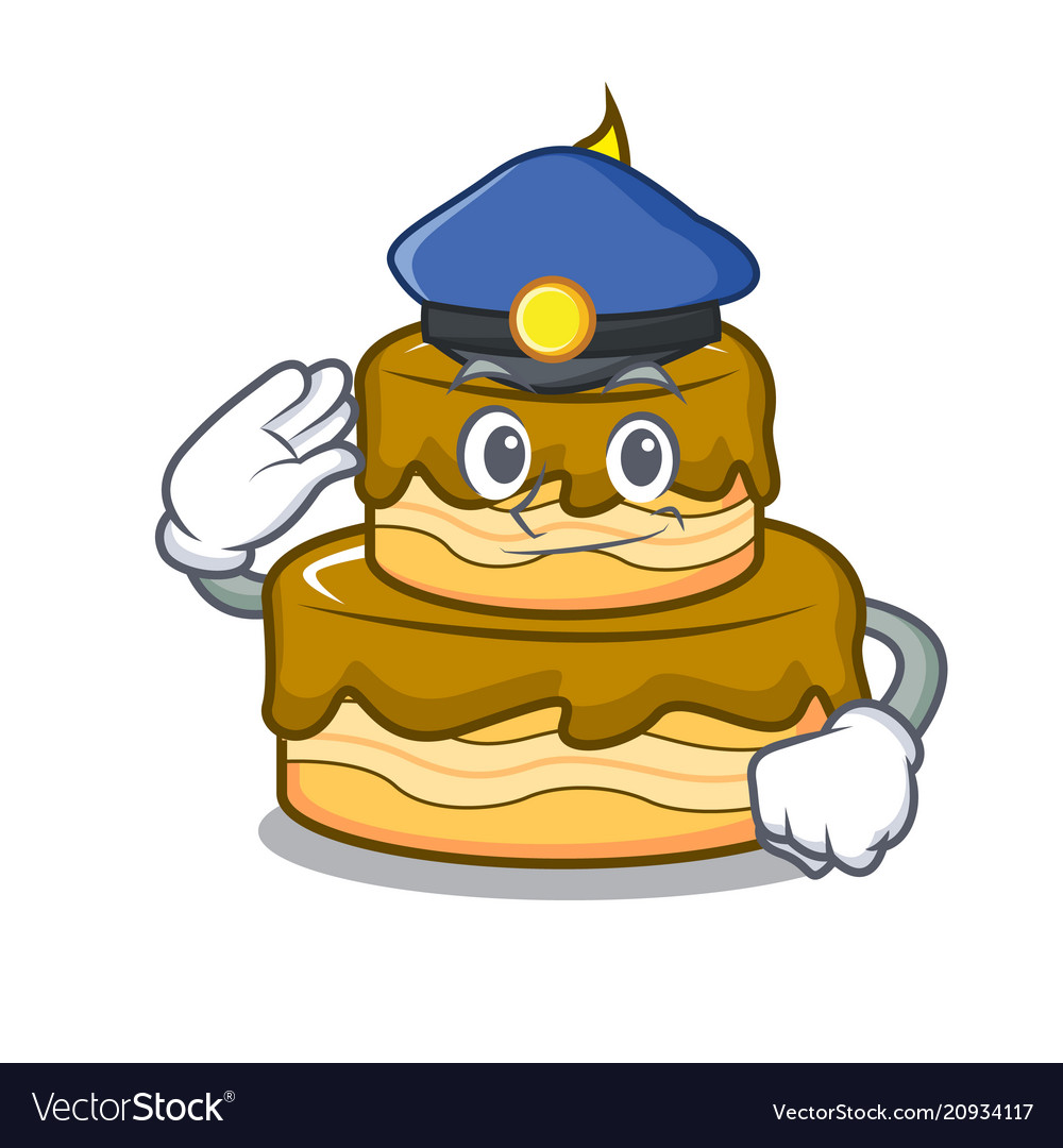 Police Birthday Cake Character Cartoon Vector Image