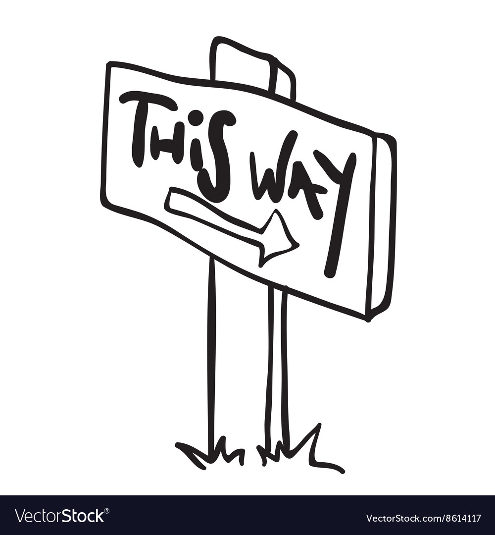 Simple black and white wooden sign with arrow vector image