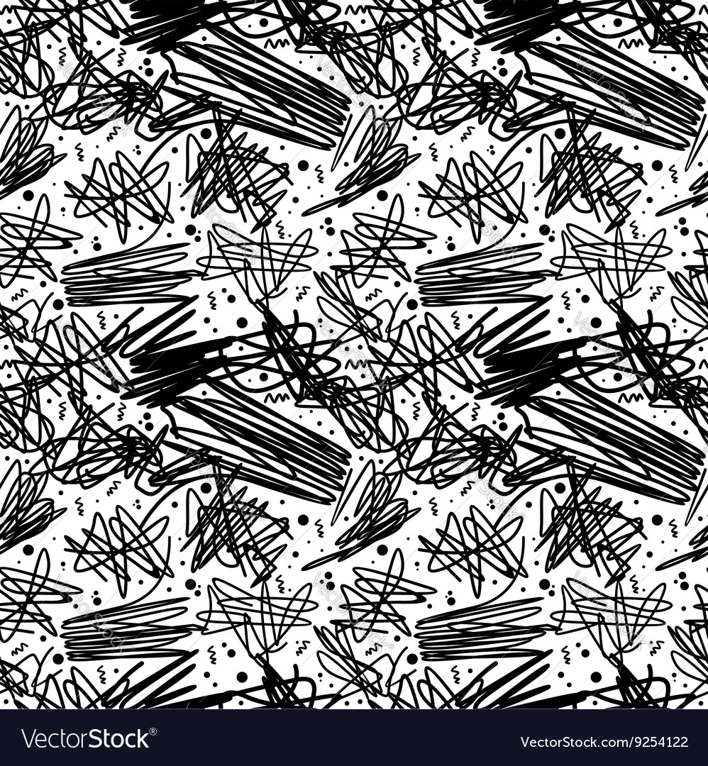 Black and white pattern in 80s style with doodles