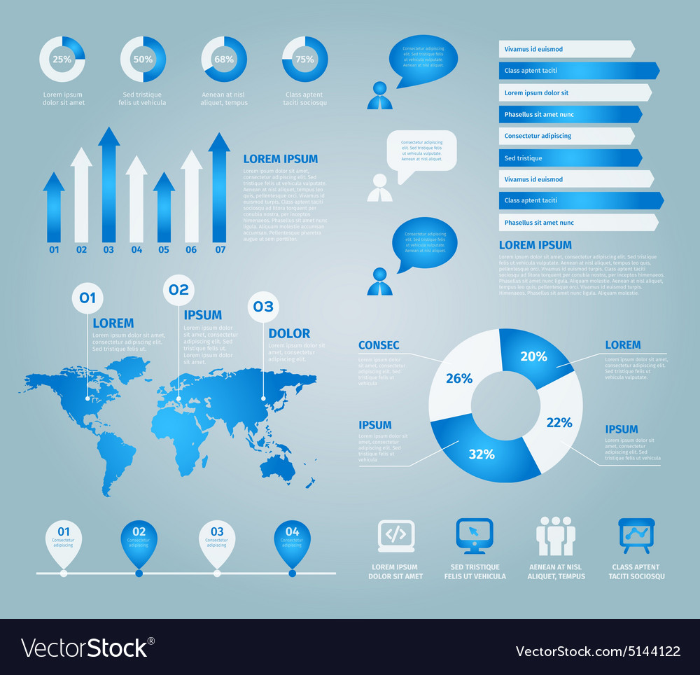 Blue set of infographic elements