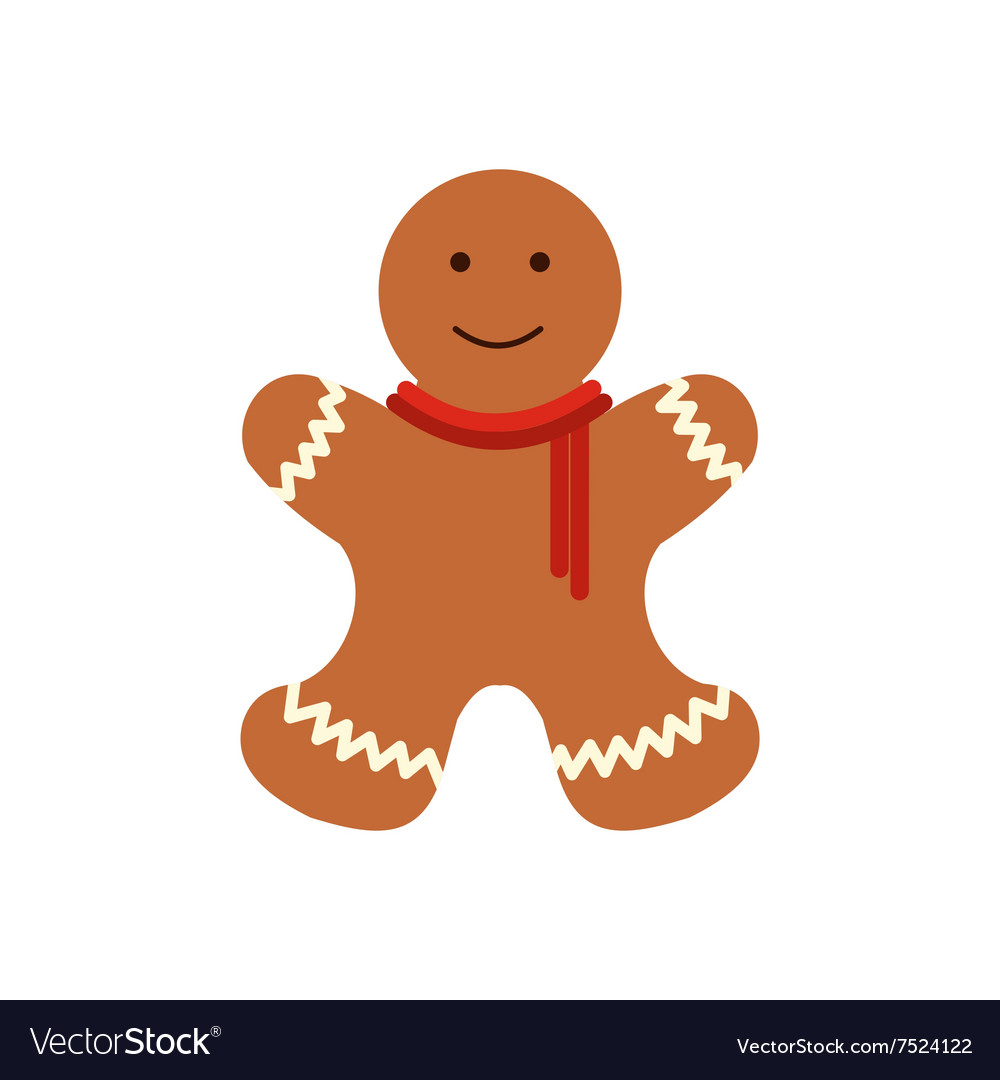 christmas gingerbread man flat icon vector image - Christmas Gingerbread Man