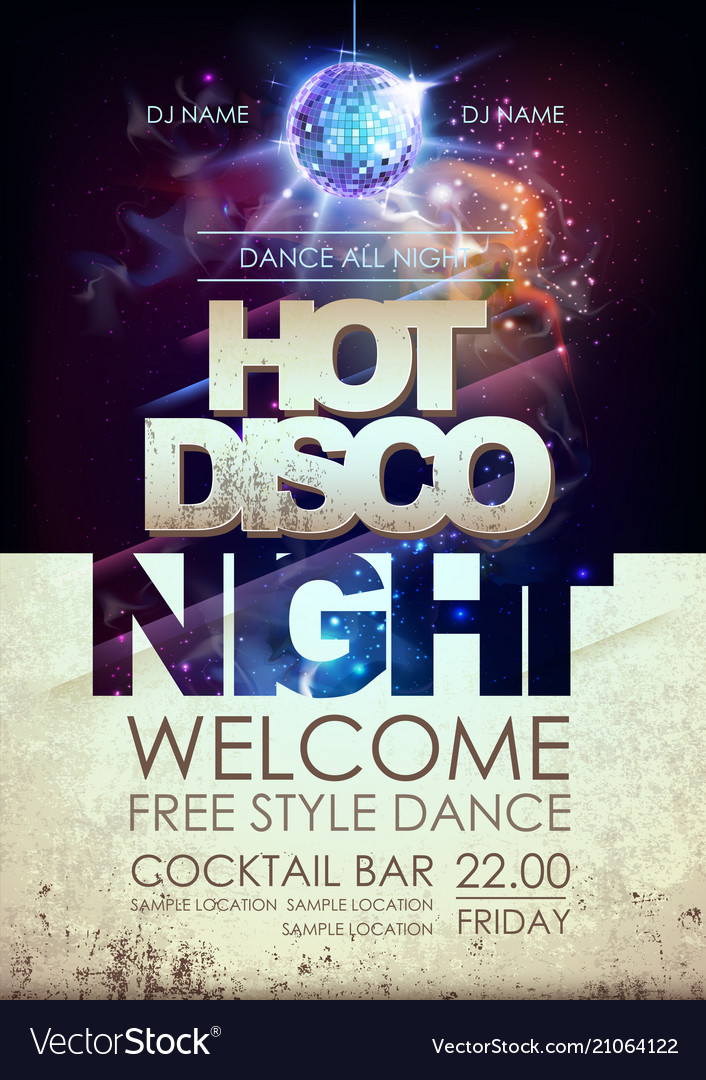 Disco ball background hot disco night party