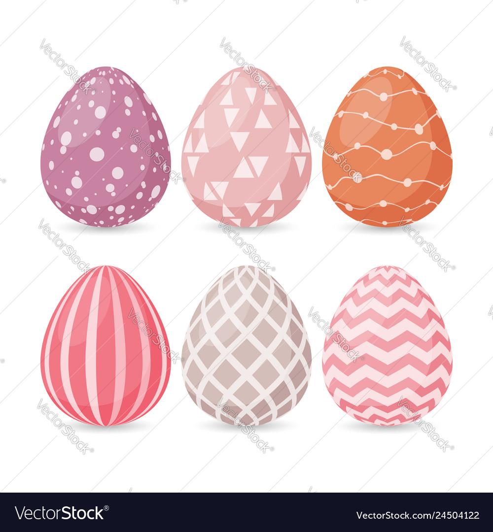 Happy easter design set easter eggs