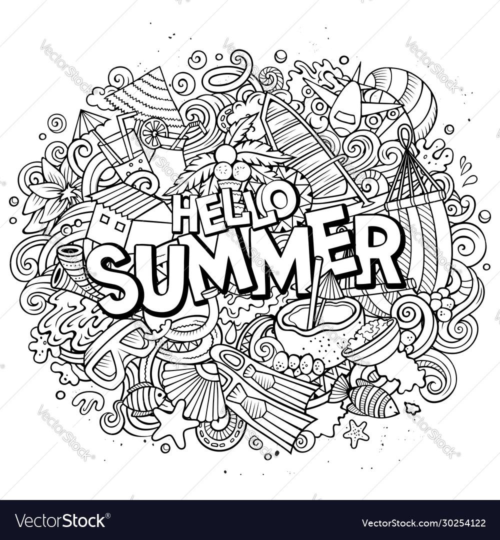 Hello summer hand drawn cartoon doodles