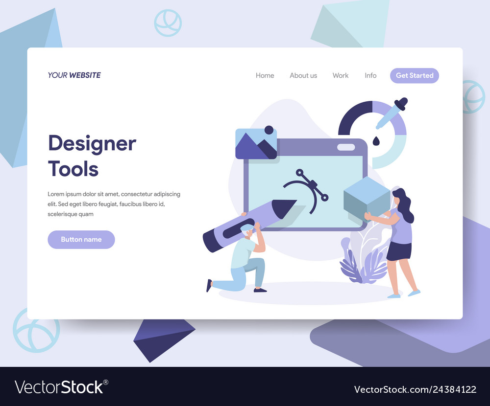 Landing page template of 3d designer tools