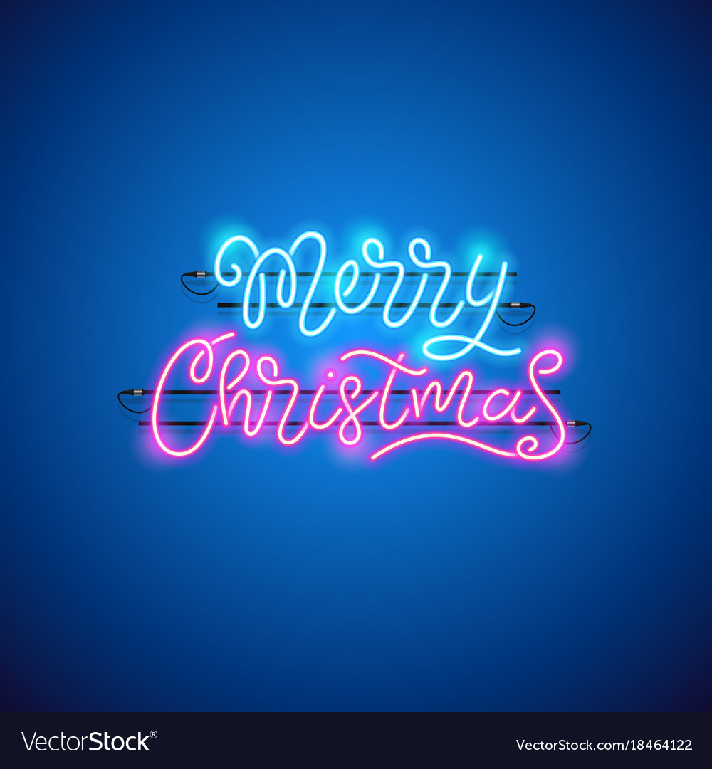 Merry christmas blue pink neon sign