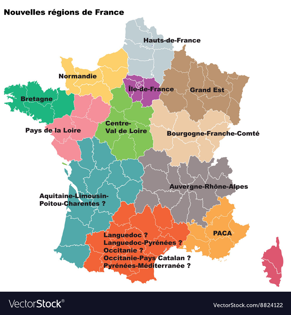 Map Of Regions Of France.New French Regions Nouvelles Regions De France