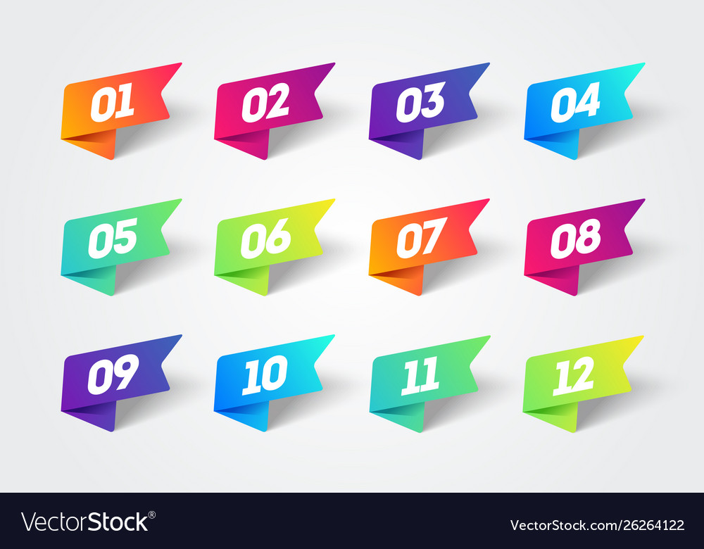Number bullet point 1 to 12 colorful label ribbons