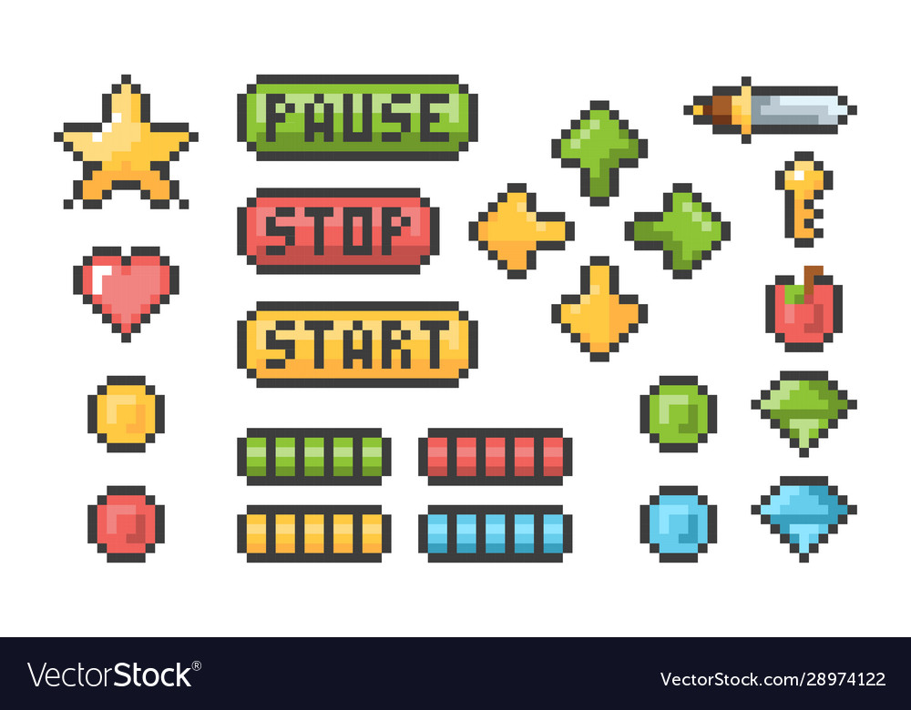 Pixel buttons retro video games trophy pictograph vector