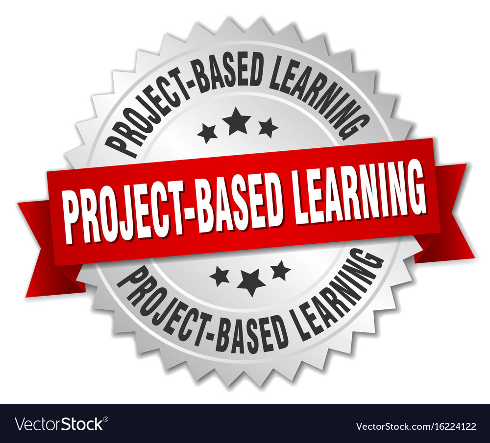 Project-based learning round isolated silver badge
