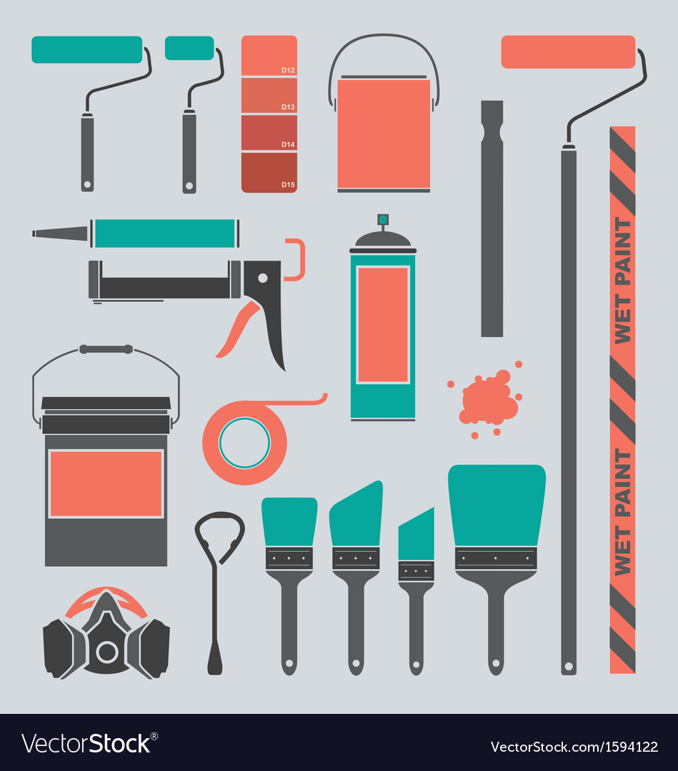 Retro Painting Supplies Silhouettes and Icons