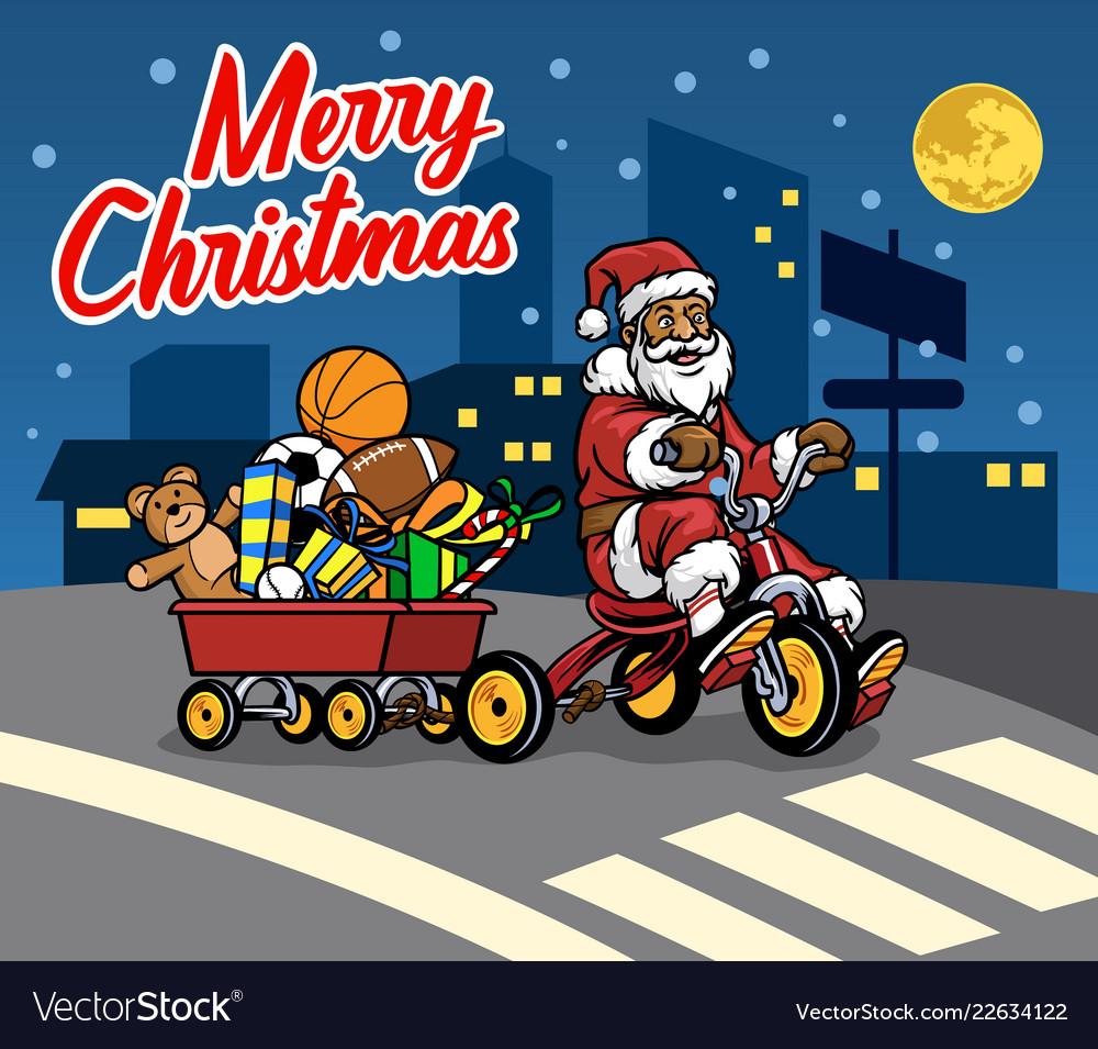 Gift Of Christmas.Santa Claus Bring Wagon Full Of Christmas Gift By
