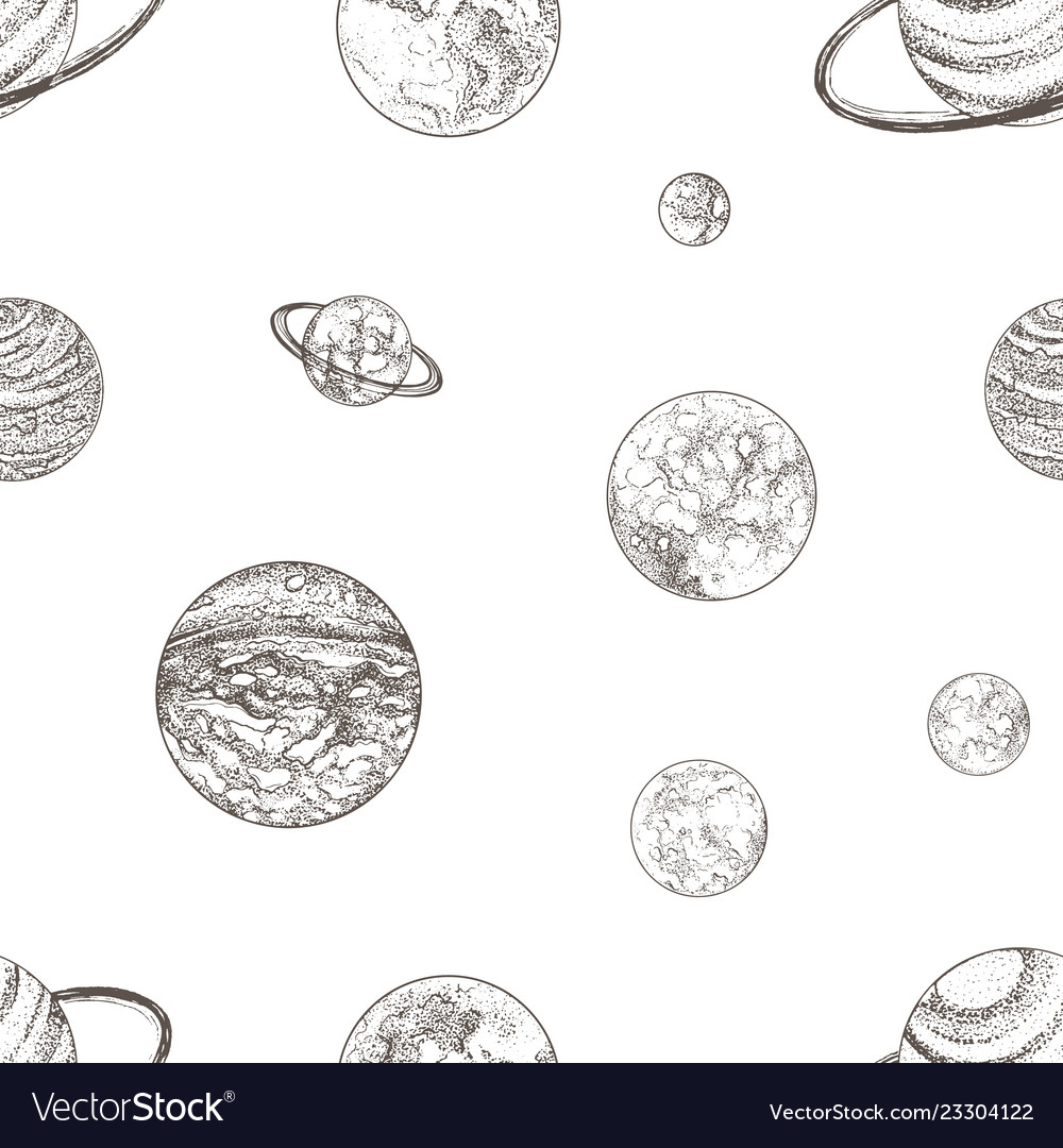 Seamless pattern with planets of solar system and
