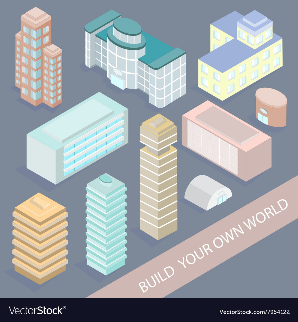 Set of Urban Architectural Buildings in Isometric
