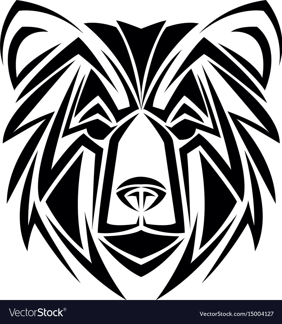 Bear tribal tatto animal creativity design vector image