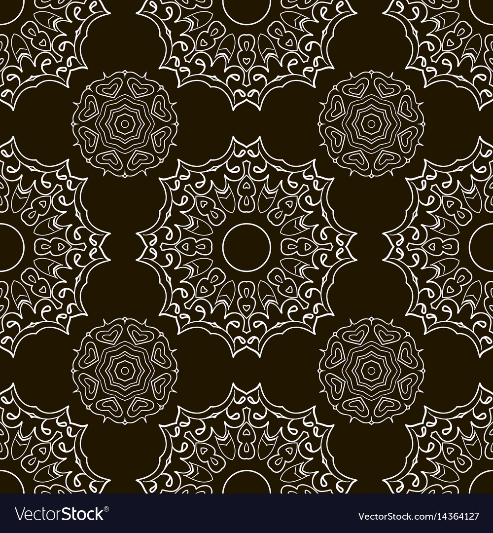 Black and white seamless doodle pattern ethnic