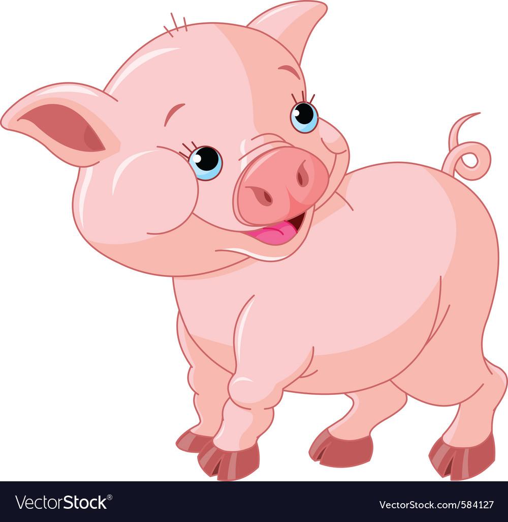 cartoon pig royalty free vector image vectorstock rh vectorstock com pig vector silhouette pig vector free download