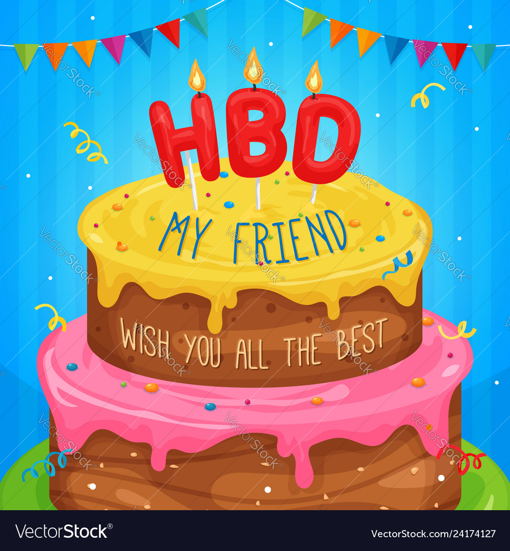 Magnificent Happy Birthday Cake With Text Royalty Free Vector Image Funny Birthday Cards Online Alyptdamsfinfo