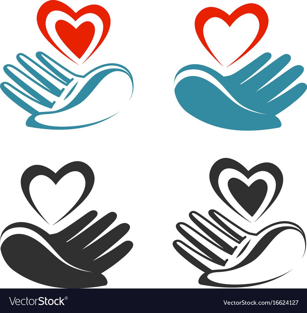 Health donation charity logo or label hand