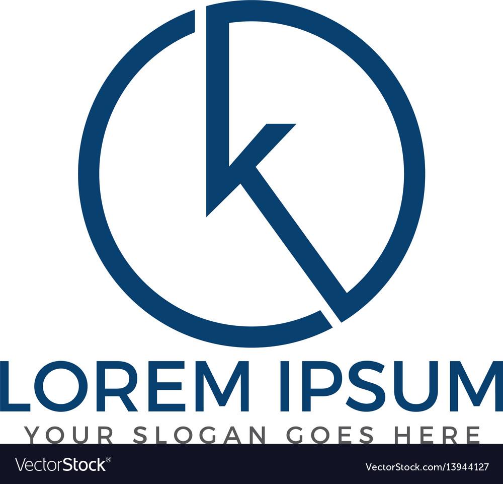 Letter k round business logo design vector image