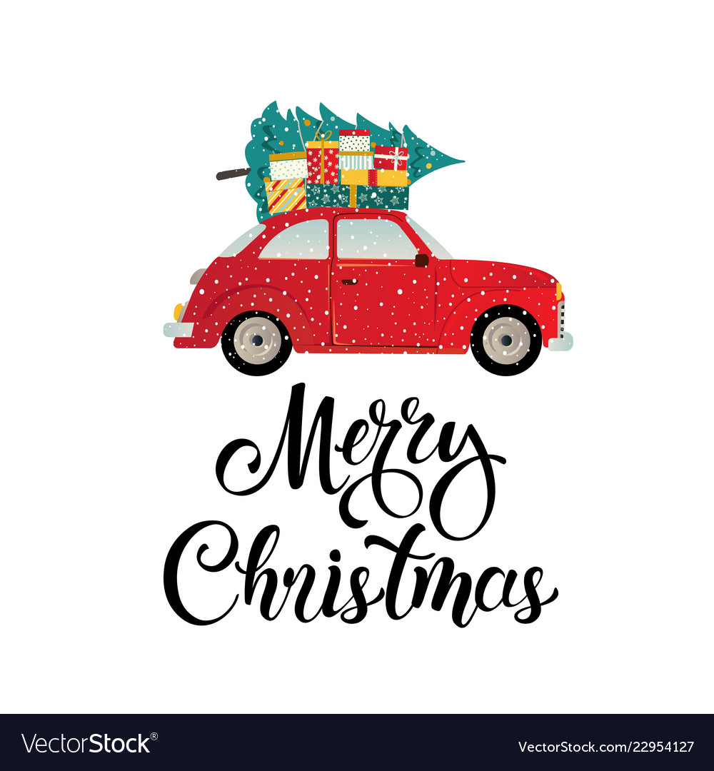 Merry christmas stylized typography vintage red