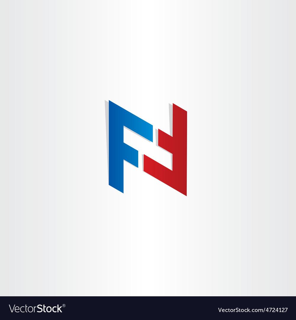 Red blue letter f symbol design