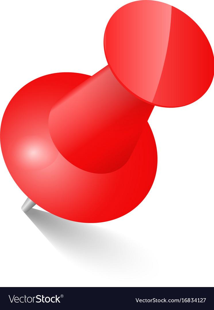 red push pin thumbtack top view royalty free vector image