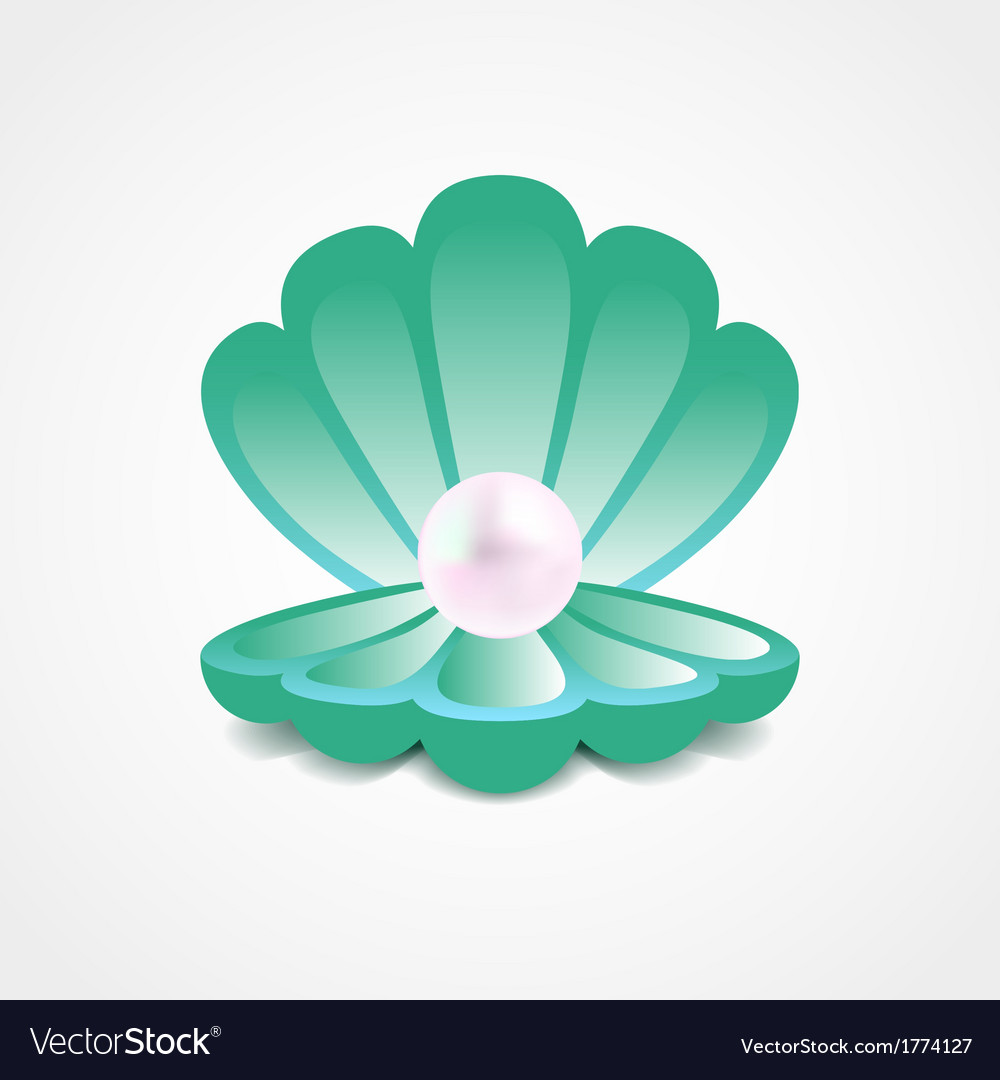 Sea-green shell with a pearl inside