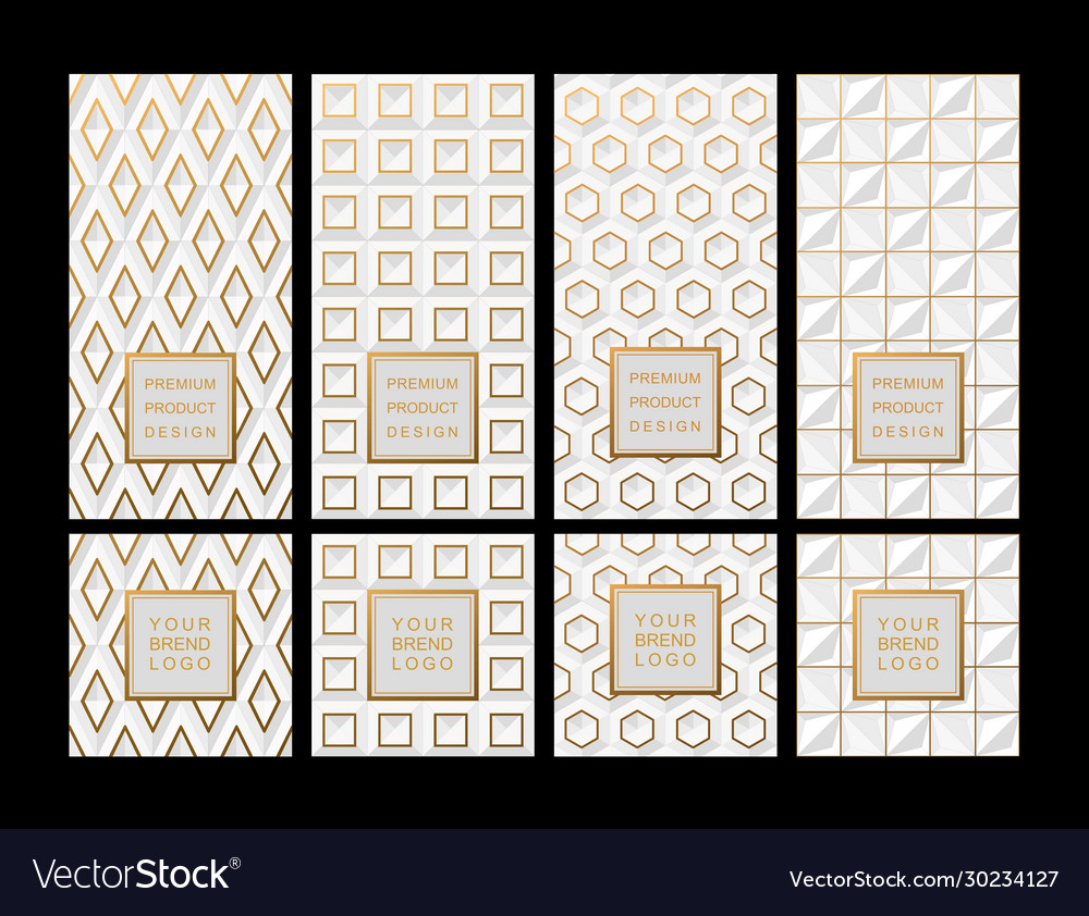 Set template for package or flyer from luxury vector