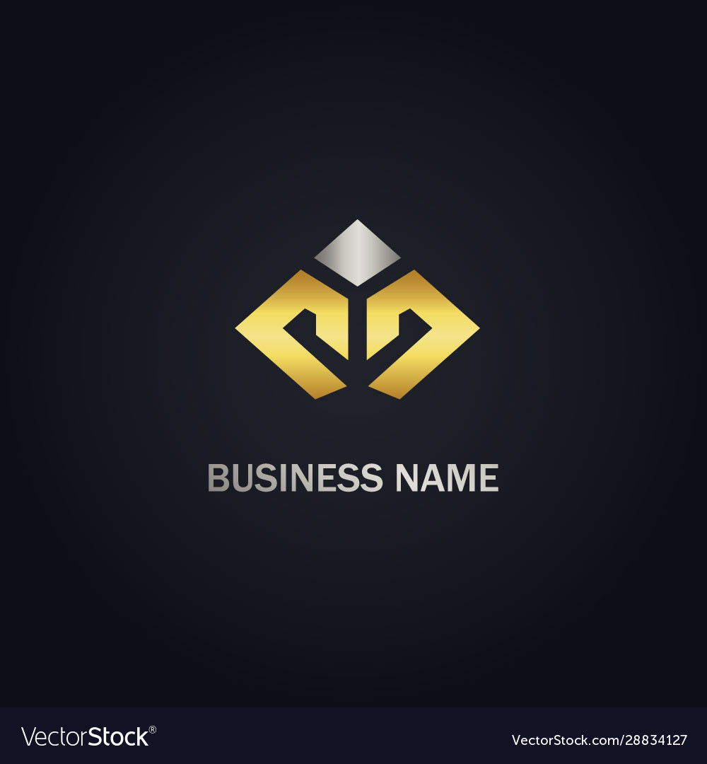 Shape line business company gold logo