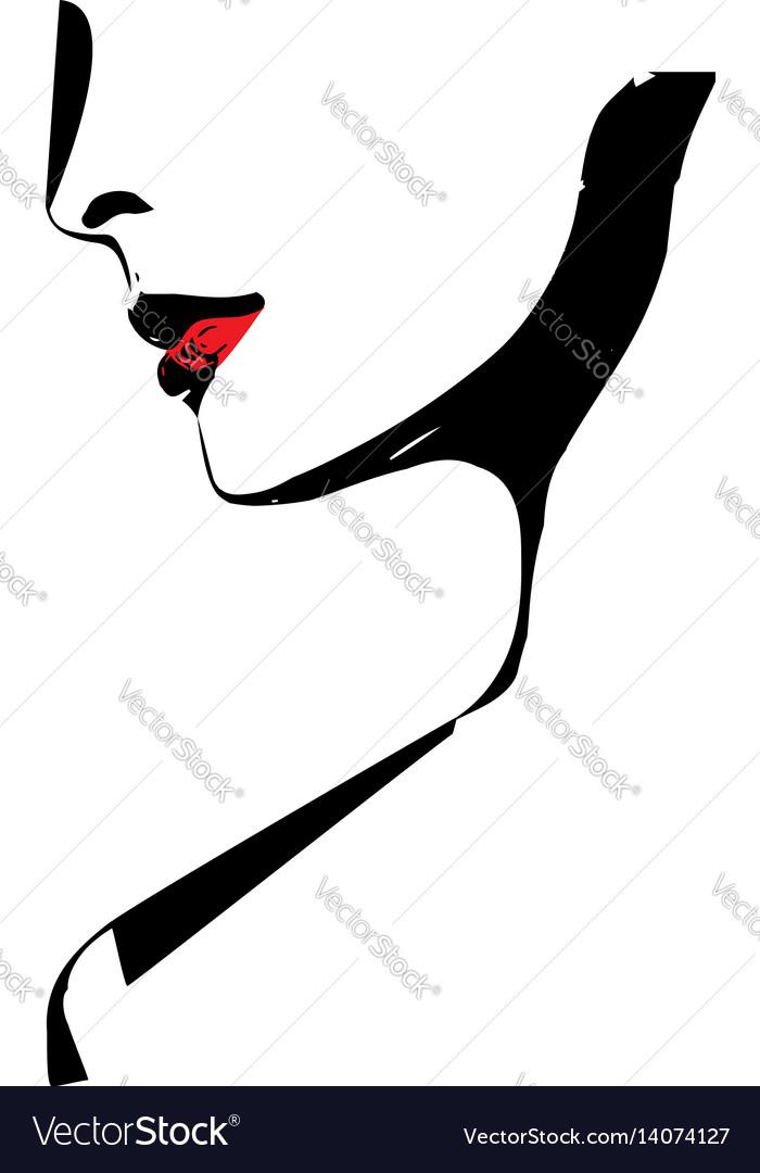 Sketch of beautiful woman face