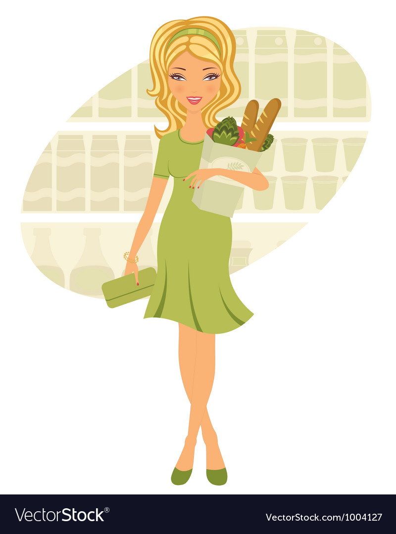 Young woman shopping for grocery vector image