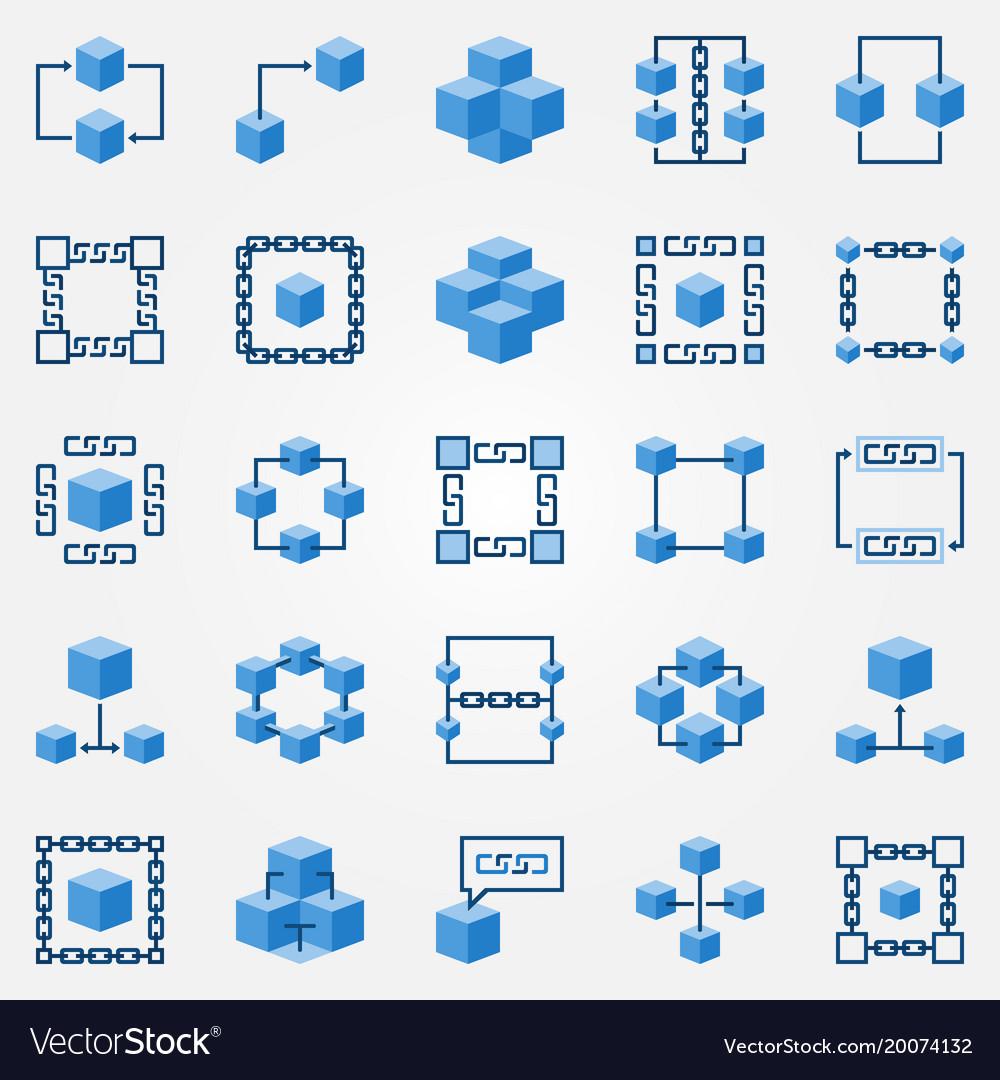 Blockchain blue icons set - block chain vector image