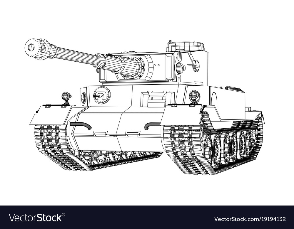 Blueprint of realistic tank Royalty Free Vector Image
