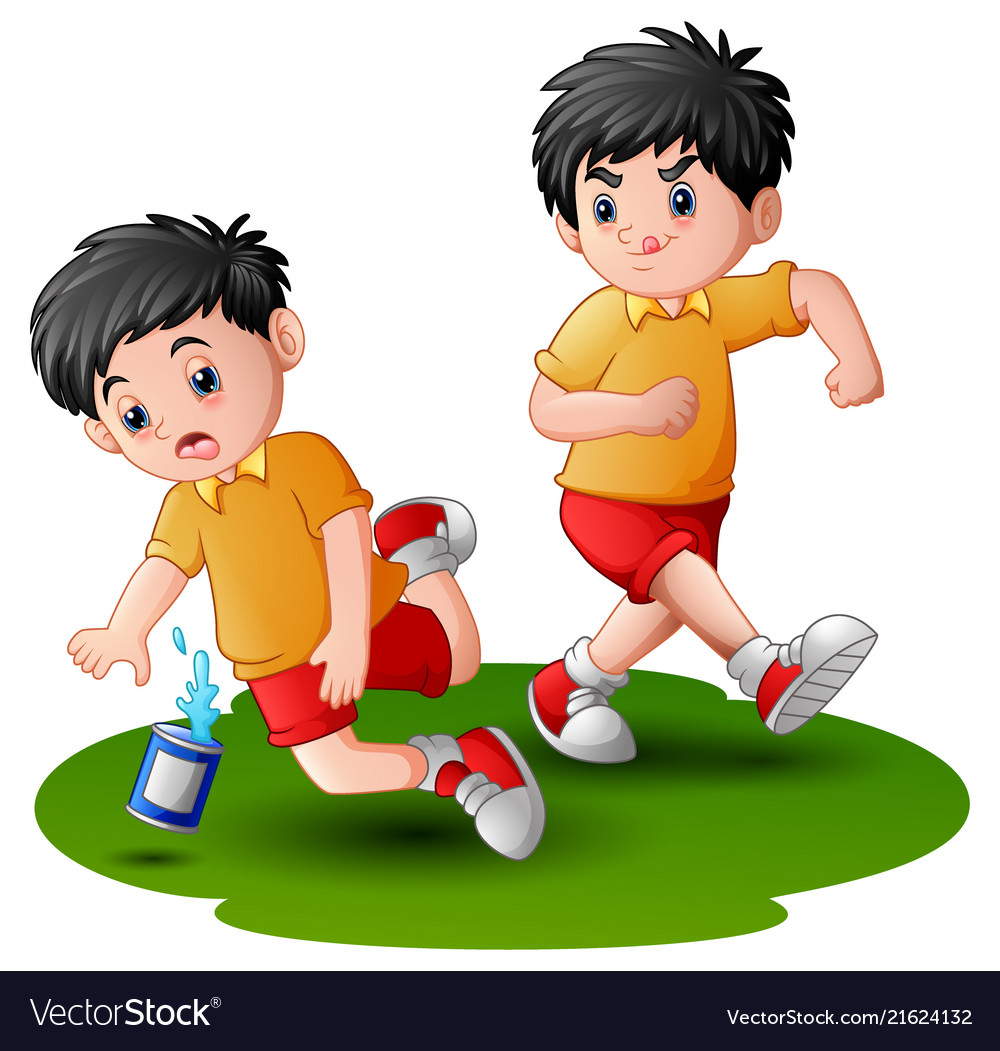 cartoon boy kicking others royalty free vector image