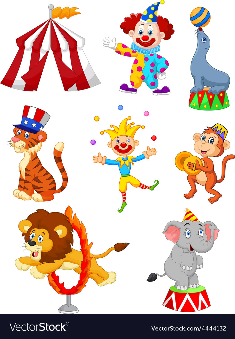 Cartoon Set of Cute Circus themed
