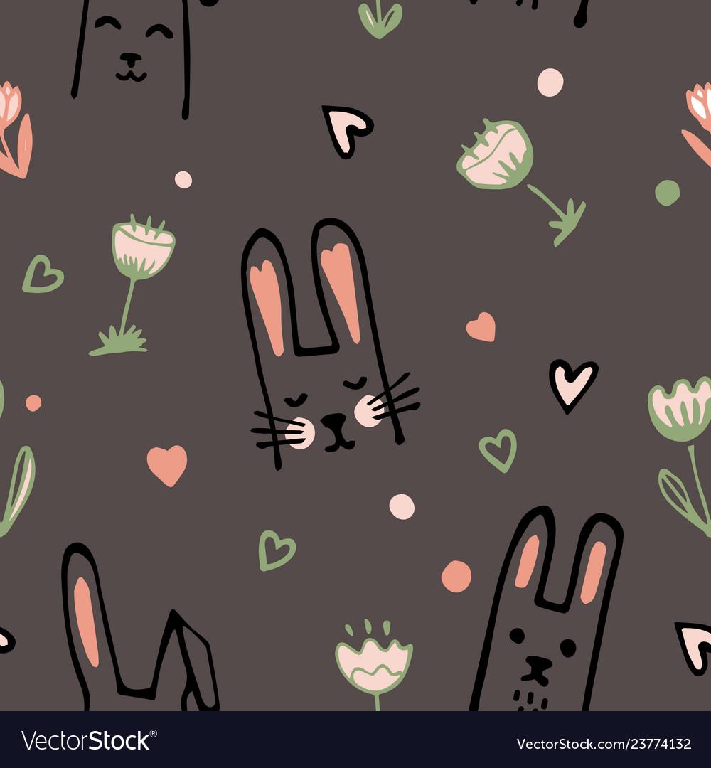 Cute cartoon baby rabbit or bunny and flowers