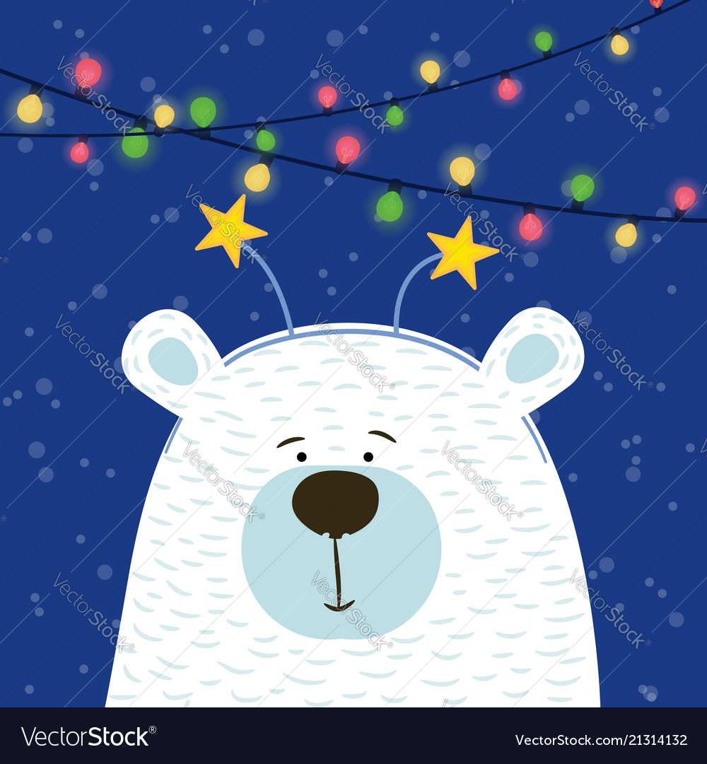 Cute Hand Drawn Polar Bear With Hoop Head